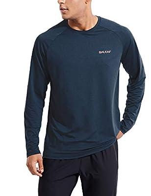 BALEAF Men's Long Sleeve Running Shirts Cooling SPF Quick Dry Lightweight Upf50+ Shirt Hiking Workout Outdoor Blue Size L