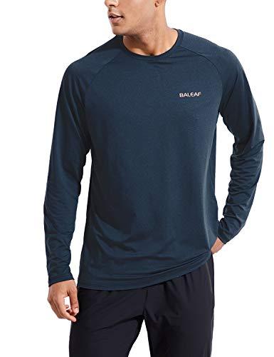 BALEAF Men's Long Sleeve Shirts Quick Dry Lightweight Cooling Upf50+ Shirt Shirt Hiking Running Workout Fishing Blue Size XL