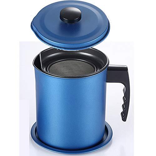 TAMUME 1.6L Olla de Colador de Aceite de Acero Inoxidable, Filtro de Grasa y Contenedor de Aceite con Tapa y Soporte Antideslizante (Azul)