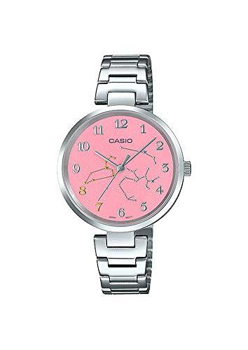 Casio LTP-E02D-4A Women's Stainless Steel Pink Leo Zodiac Motif Dial Analog Watch