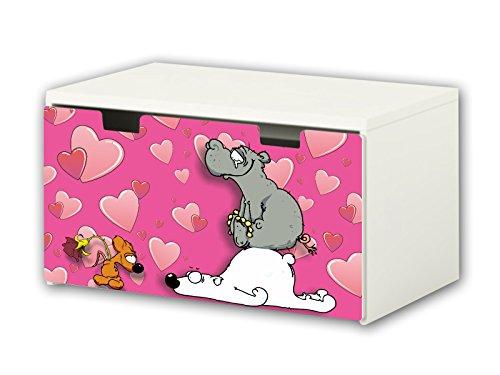 Mundo de Knuddel pegatinas | pegatinas para muebles | BT11 | adecuado para el arcón de banco STUVA von IKEA para niños (90 x 50 cm) | Perfecto como arcón de juguetes y banco