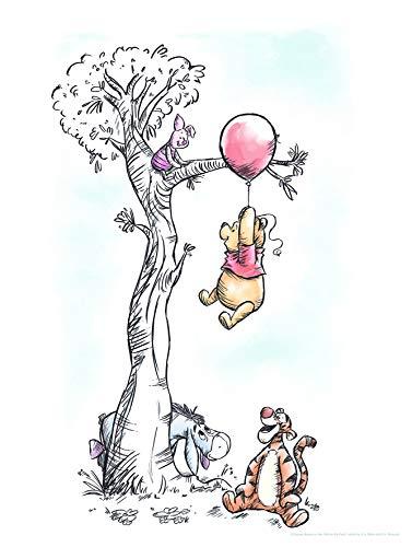 Disney Wandbild von Komar  | Winnie Pooh Hang on | Kinderzimmer, Babyzimmer, Dekoration, Kunstdruck | Größe 30x40cm (Breite x Höhe)   |  ohne Rahmen   | WB059-30x40