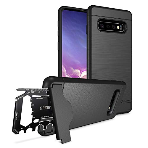 Olixar for Samsung Galaxy S10 Tough Case - with 26 in 1 Survival Multi Tool - Protective Armour Cover - Credit Card Slot & Built in Stand - X-Ranger - Black