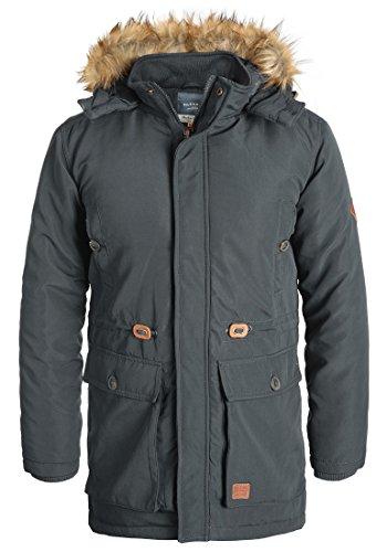 Blend Polygro Herren Winter Jacke Parka Mantel Lange Winterjacke gefüttert mit Kapuze, Größe:XL, Farbe:Ebony Grey (75111)