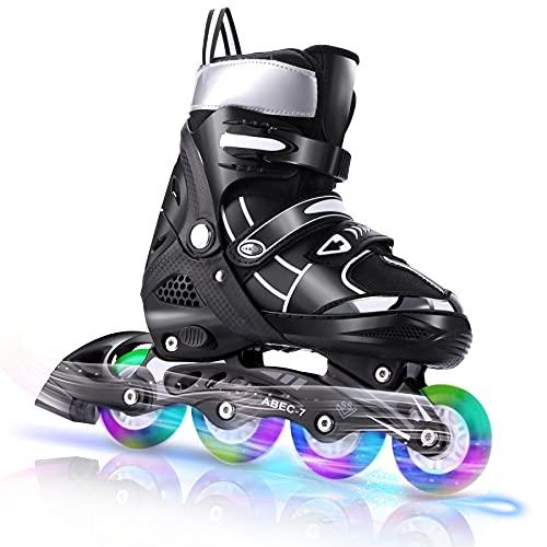 Inline Skates für Kinder, Verstellbare Rollschuhe mit Leuchträdern für Mädchen Frauen Männer Jungen Jungen Kleinkinder