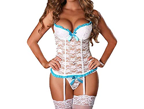 opdamyi - Conjunto de lencería sexy para mujer, sexy, erótico, sexy, blanco, XXL