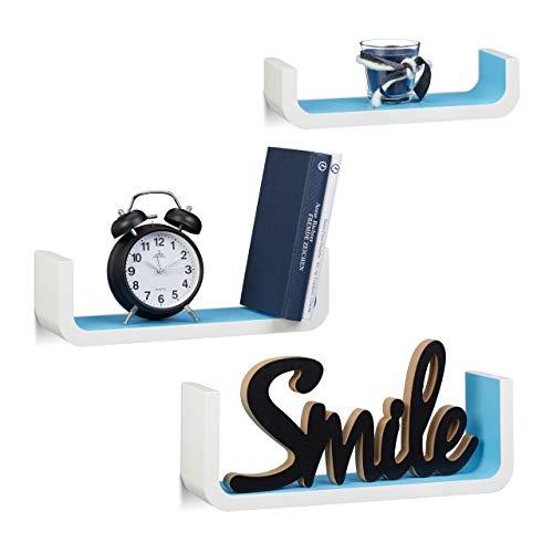 Relaxdays Wandregal 3er Set, dekorative U-Form Wandboards, kleine Regalbretter 10 cm tief, bis 40 cm breit, weiß-blau
