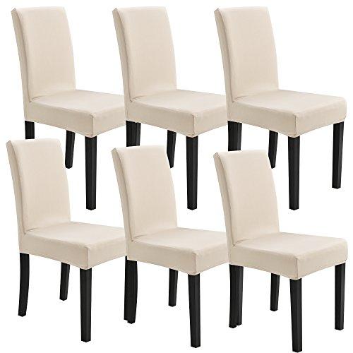 [neu.haus] Stuhlhusse 6er-Set 42-53 cm Sandfarben Maschinenwaschbar Schonbezug Stuhlbezug Stuhlüberzug Stretch
