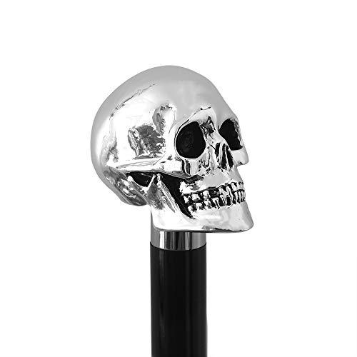 Walking Sticks - Schädel - Eleganter Spazierstock mit Griff Schädel mit Silber bezieht - Gehstock zur Hochzeit oder Feier - Völlig Made in Italy