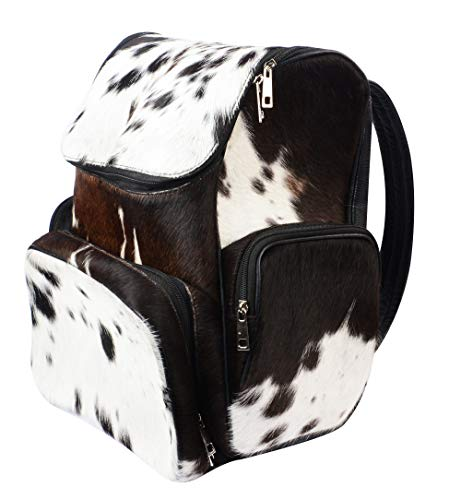 Cowhide Hair Travel Leather Backpack Brown and White Pony Fur Rucksack/Knapsack Shoulder Bag/Diaper Backpack (Travel Backpack D2)