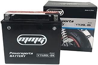 MMG YTX20L-BS High Performance Powersports Battery 12V 20 Amp Compatible with Kawasaki Advantage Classic KAF Mule Kymco UXV Suzuki QUV Utility Vehicles