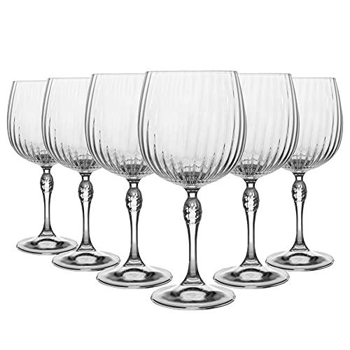 Bormioli Rocco - Juego de 6 copas de cóctel con ginebra y tónica, estilo vintage Art Deco Copa de Balon, 240 ml