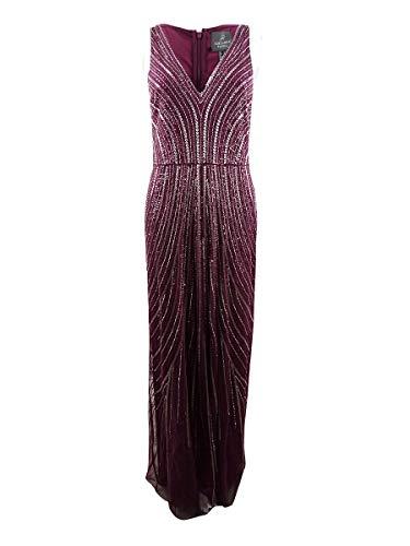 Adrianna Papell Damen Sleeveless Beaded Long Dress Kleid für besondere Anlässe, Cabernet, 36