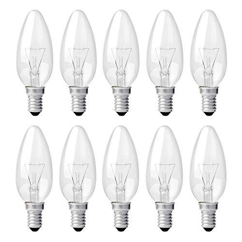Glühbirne 10 Stück 25 Watt Kerzen Lampe E14 Kerzenbirne klar