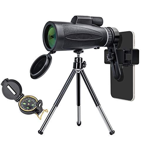 Telescopio monocular 12X60 con brújula universal y soporte para smartphone, 2020, telescopio monocular impermeable para deportes, observación de aves, caza, mundo de animales, etc., regalo de camping