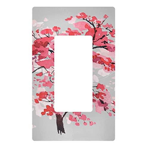 Placa decorativa de pared con interruptor de luz – Blooming Japanese Cherry Tree Outlets Switch Plate Cover 2 Gang Electrical Outlet Covers para dormitorio, cocina, decoración del hogar