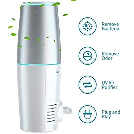HomeZens Portable Plug in Air Purifier for Viruses and Bacteria, UV-C Light Sanitizer Eliminate and Sanitize Germs & Odor, Keep Air Clean for Bedroom, Kitchen, Bathroom, Pet Area, Nursery, Small Rooms 1 🍃 UV air purifiers are designed to use UV-C light to inactivate airborne pathogens and microorganisms like mold, bacteria and viruses. Powerful UV-C light can kill up to 99.9% of germs and bacteria without any additional liquid or chemicals. 🍃 This 7 inch small wall pluggable air purifier is perfect for the kitchen, litter box room, bathroom, or children's room. Just plug it into any 120V outlet and 180 degrees rotatable plug for a different angle, the light will turn on and work, effectively sanitize a 10㎡ room it within 2h to get the best result. 🍃 UV light air purifiers disinfect the hard to reach corner of your room, The top cover for full protection design and fully sealed air purification design works in photolysis cavity, no radiation and ozone leakage, no need to be away from the room when working.