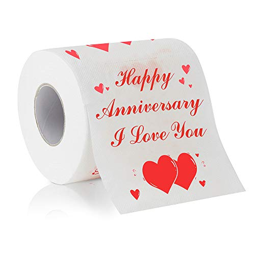 Cleaky Happy Anniversary Printed Toilet Paper Gag Gift, Funny Novelty Anniversary Present for Him or Her