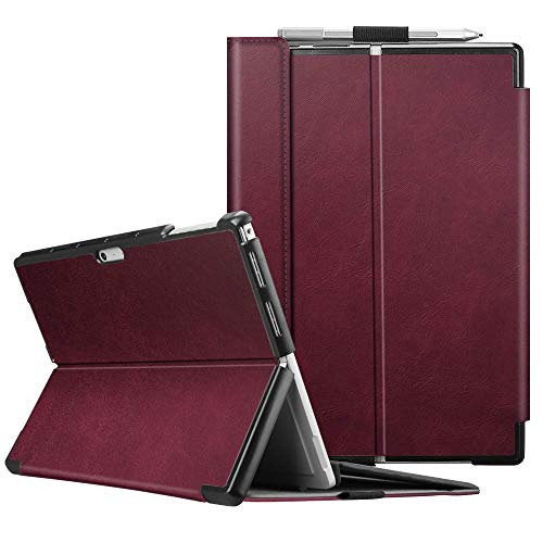 Fintie Schutzhülle für Surface Pro 7 Plus/Pro 7 / Pro 6 / Pro 5 - Business Hülle mit Harter Schale, anpassbarer Betrachtungswinkel, kompatibel mit der Type Cover Tastatur, Bordeaux