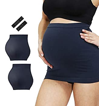 HOFISH Breathable Pregnancy Back Support Lightweight Seamless Premium Belly Band Two Pack Navy Medium