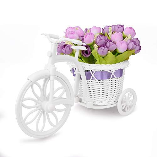 Takefuns Garden - Soporte para plantas, diseño de bicicleta decorativa (ideal para decoración de hogar o de jardín), plástico, Morado, Small