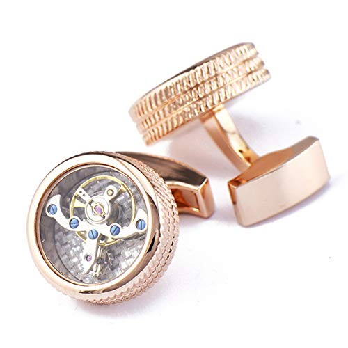 Xinmeitezhubao Vintage Uhrwerk Manschettenknöpfe, Bewegung Roségold Doppellinie Muster Tourbillon Manschettenknöpfe