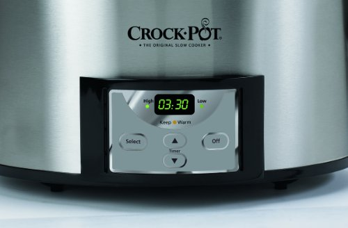 Crock-Pot 6-Quart Countdown Programmable Oval Slow Cooker with Dipper, Stainless Steel, SCCPVC605-S