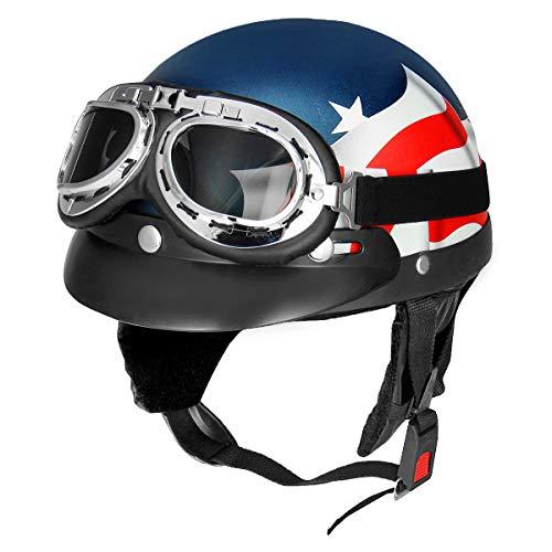 YONGYAO Bandera USA Retro Moto Media Cara Casco Biker Scooter con Visera De Sol UV Gafas Cafe Racer