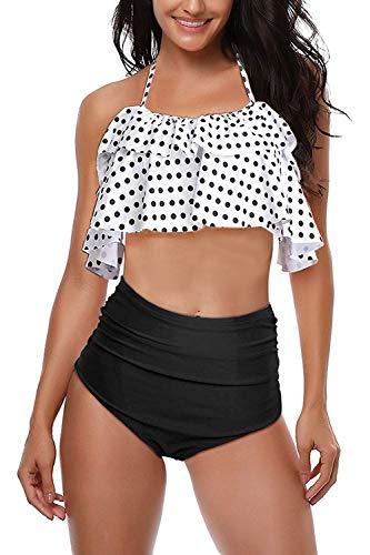 AMAGGIGO Traje de baño para Mujer de Talle Alto Vintage Push Up Bikini Set para Mujer Talla Grande 2 Piezas Traje de baño (FBA)