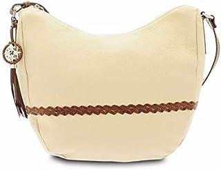 GIUDI ® - Borsa Donna in pelle vitello martellato, sacca, tracolla, vera pelle, Made in Italy. (Beige/Marrone)