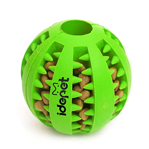 Idepet Dog Toy Ball, Nontoxic Bite Resistant Toy Ball for Pet Dogs Puppy Cat, Dog Pet Food Treat Feeder Chew Tooth Cleaning Ball Exercise Game IQ Training Ball(Green)
