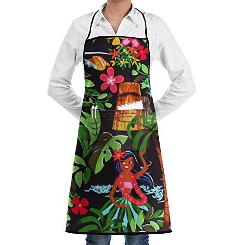 Delantal de baile de niña hawaiana de encaje Unisex para hombre y mujer Chef ajustable poliéster largo completo negro cocina delantales de cocina babero