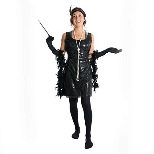 Bodysocks Fancy Dress Disfraz Flapper Girl Años 20 para Mujer (Mediana)