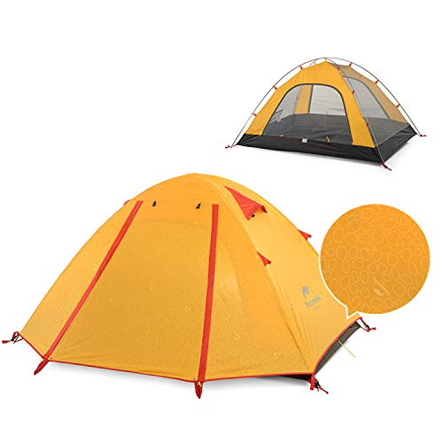 Naturehike Backpacking Camping Tent 3-4 Person Lightweight Waterproof Anti-UV Tent, 3 Season, Easy Setup, Double Layer, Large Size for Family, Outdoor, Hiking, Beach, Mountaineering - Orange