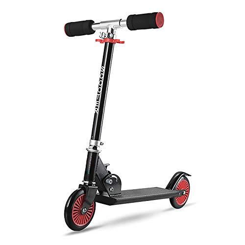 LABYSJ Scooter de 2 Ruedas, Bicicleta de Equilibrio portátil con Ruedas de PU y Manillar Ajustable, diseño Plegable Patinete, Scooters Ligeros para Adultos y niños, 100 kg,Negro