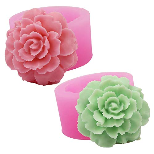 2 piezas Formas 3D Flores Claveles Molde de Silicona Moldes para hacer dulces Moldes de jabón artesanal 3D Moldes para hacer jabón Craft Art forma de flores Moldes de jabón hechos a mano bricolaje
