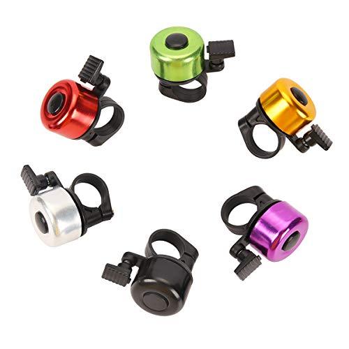 Herefun 6 Stück Mini Fahrradglocke, Aluminiumlegierung Fahrradklingel, Fahrradklingel Kinder, Super Klarer Sound Fahrradglocken für Rennrad