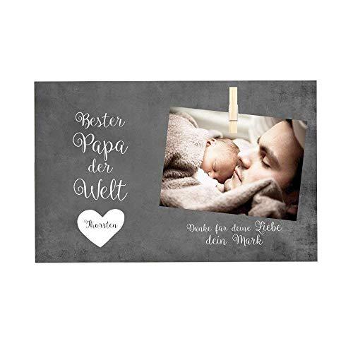 Persönliches Fotogeschenk aus Holz für den Papa - Geschenkidee mit Spruch und Namen