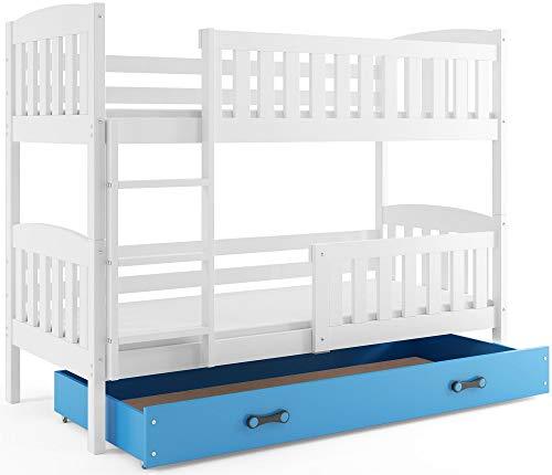 Interbeds Etagenbett QUBA 190x90cm in Weiβ + Varianten, mit Matratzen, Lattenroste und Schublade (weiβ + Blaue Schublade)