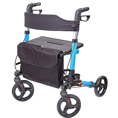 MQQ Rollator 3-Fach Faltbar und Leicht - Sitz mit Rückenlehne, 4 Räder/Bremsen/Einkaufstasche & Stockhalter, Höhenverstellbar - Gehhilfe, Laufhilfe, Gehwagen, Leichtgewichtrollator (Color : Blue)