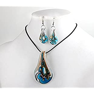 Ecloud Shop Blue Leaf Lampwork Glass Murano Bead Necklace Earrings FASHION