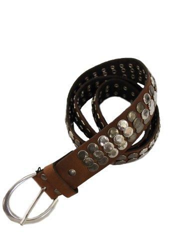 Vanzetti - Cinturón de piel con tachuelas (3,5 cm), color marrón claro (Ropa)