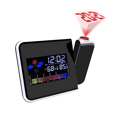 Xu Yuan Jia-Shop Creativo LED Reloj Despertador electrónico Previsión meteorológica Estación meteorológica Proyección horaria Función Multifuncional Snooze (Color : Black)