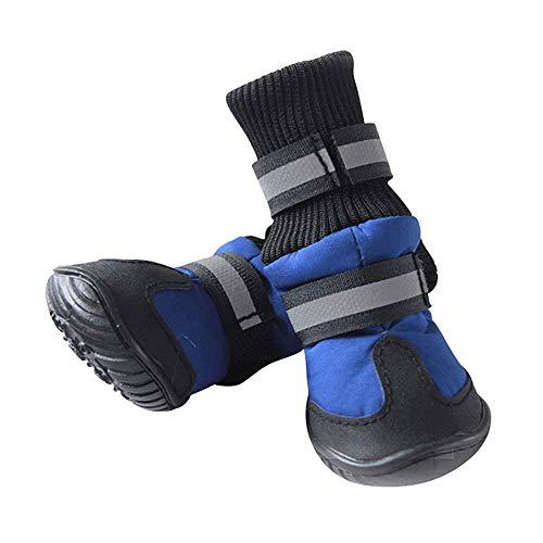 WAXDEOLM 4pcs / Set Winter Warm Perro Mascota Impermeable Botas Zapatos Algodon...