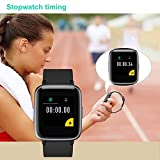 Willful Smartwatch Impermeable Reloj Inteligente con Pulsómetro, Pulsera Inteligente para Deporte con Cronómetro, Podómetro. Smartwatch Hombre Mujer para Android iOS Xiaomi Huawei iPhone(Negro)