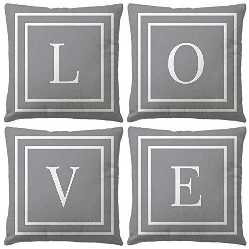 None/Brand Yisika Fundas Cojines 45x45 Gris,Funda Decorativa Casera de Cojines de Sofá de Lino Cuadrado para Sala de Estar,Dormitorio,Sofá