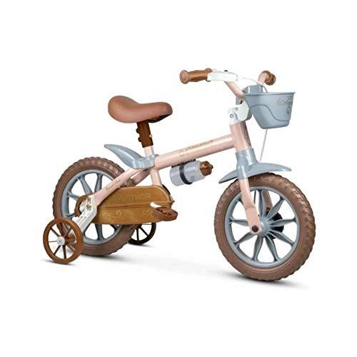 Bicicleta Infantil Aro 12 Mini Antonella Rosa com Rodinhas, Nathor