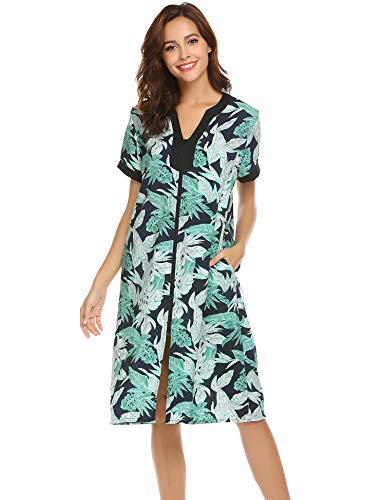 Ekouaer Nightgown Women Housecoats Zipper Front Robe-Ladies V-Neck Lightweight Duster & Long Houedress with Two Pockets