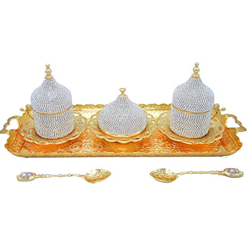 Premium Turkish Greek Arabic Coffee Espresso Serving Set for 2,Cups Saucers Lids Tray Delight Sugar Dish + 2 Spoons 13pc (Diamond Gold)