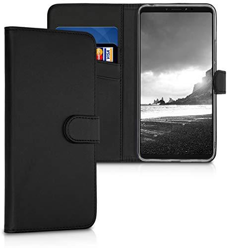 kwmobile Xiaomi Mi Max 3 Hülle - Kunstleder Wallet Case für Xiaomi Mi Max 3 mit Kartenfächern & Stand - Schwarz
